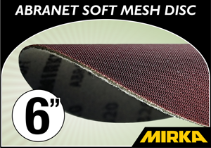 "Mirka Abranet® Soft 6"" Foam Backed Mesh Disc"
