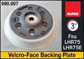 "Rupes 3"" Backing Plate - fits LHR75"