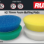 "The Rupes LHR75e BigFoot 3"" Mini Polisher works best when factory Rupes Foam Pads are used, as their design delivers a balanced and agile feel. Shown: 9.BF70H (blue extra-cut foam pad), 9.BF70J (green intermediate-cut foam pad), 9.BF70M (yellow fine foam polishing pad), and 9.BF100S (white ultra-fine foam finishing pad)."